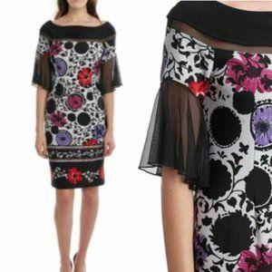 JOSEPH RIBKOFF New Floral Sheer sleeves Dress 8 M